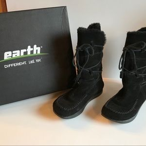 Earth Montage Black Suede Boots